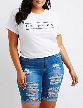 Plus Size Friends Crop Tee