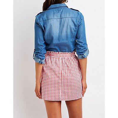 Gingham Paperbag Mini Skirt