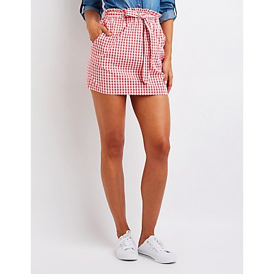 Gingham Paperbag Mini Skirt