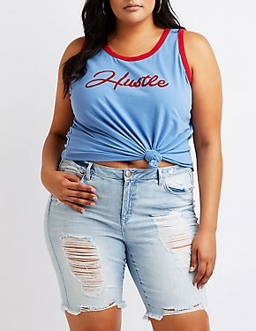 Plus Size Hustle Graphic Tank Top