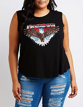 Plus Size Freedom Graphic Tank Top