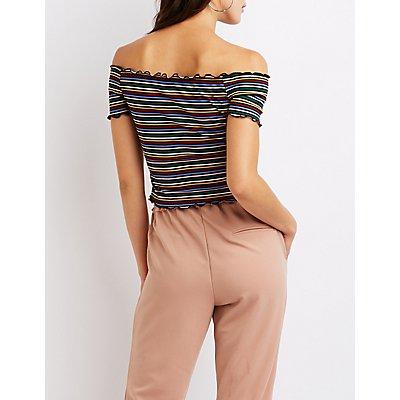 Striped Off The Shoulder Crop Top