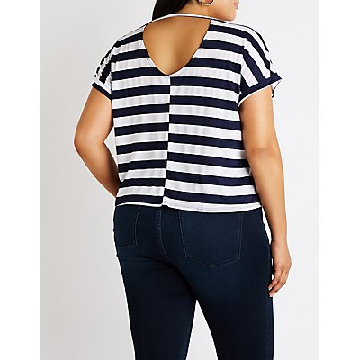 Plus Size Striped Strappy Back Tee