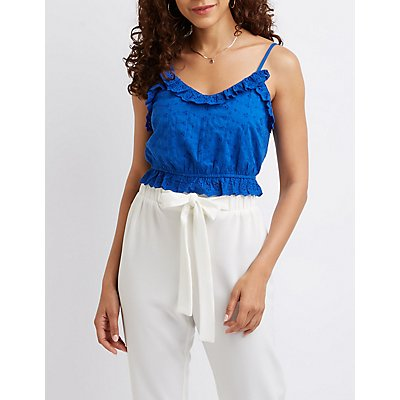 Ruffle-Trim Eyelet Crop Tank Top