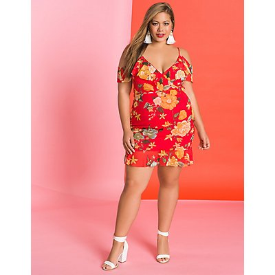 Plus Size Floral Mesh Dress