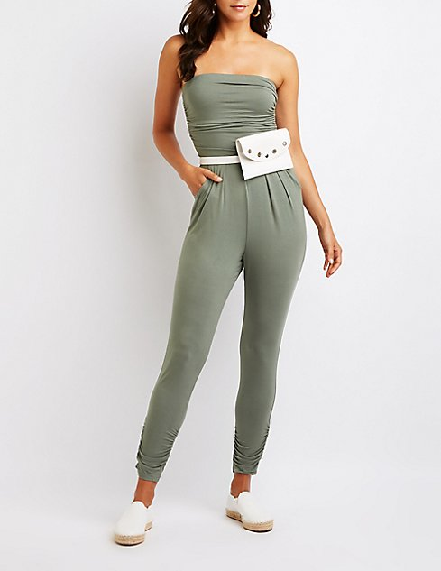 2f90e60ad4753f Shoptagr | Ruched Strapless Jumpsuit by Charlotte Russe