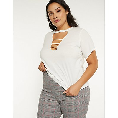 Plus Size Strappy Caged Tee