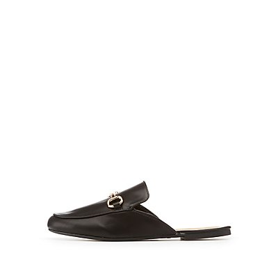 Bamboo Metal Buckle Loafer Mules