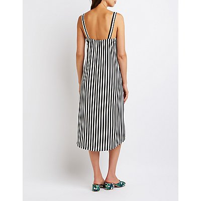 Striped High Low Wrap Tank
