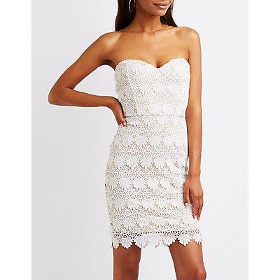 Crochet Strapless Bodycon Dress