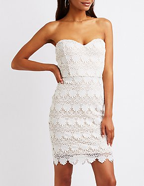 Crochet Strapless Bodycon Dress