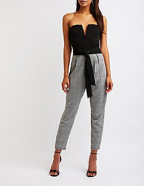 Wired Notch Strapless Jumpsuit