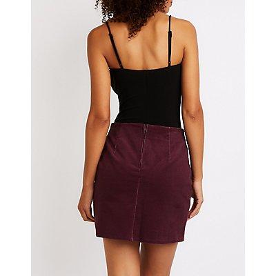 Lace Up Corduroy Mini Skirt