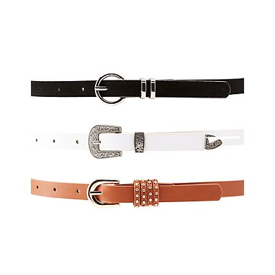 Plus Size Skinny Belts - 3 Pack