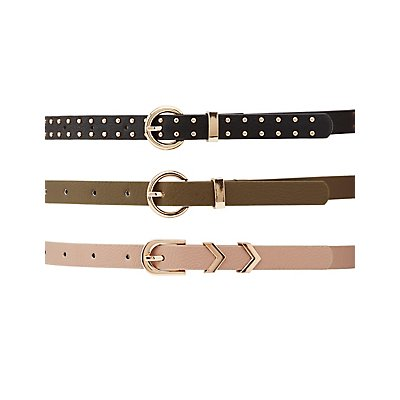 Plus Size Skinny Belts - 3 Pack