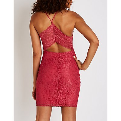 Lace Open Back Bodycon Dress