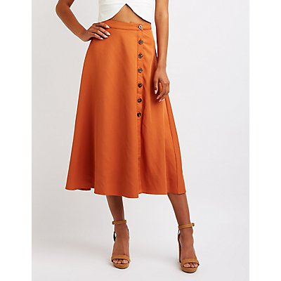 Button Up Midi Skirt
