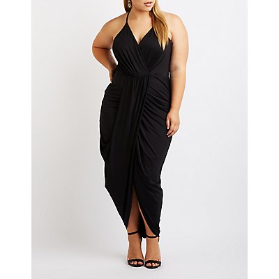 Plus Size Asymmetrical Wrap Maxi Dress