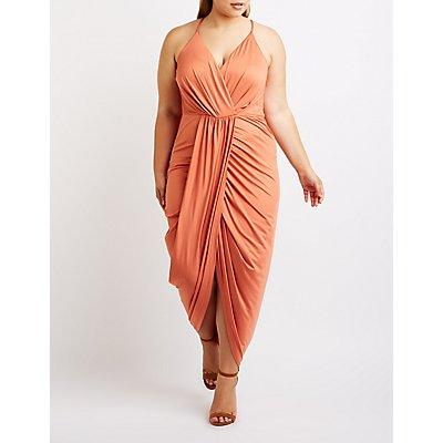 Plus Size Asymmetrical Wrap Maxi Dress
