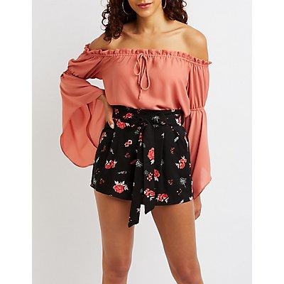 Floral Paper Bag Shorts