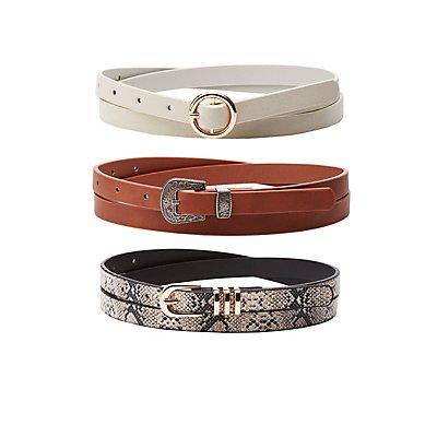 Plus Size Western Skinny Belts - 3 Pack