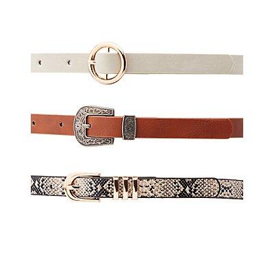 Plus Size Western Skinny Belts - 3 Pack
