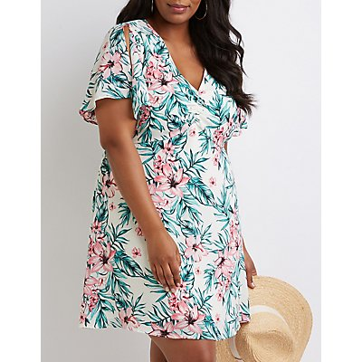 Plus Size Floral Lace Up Dress
