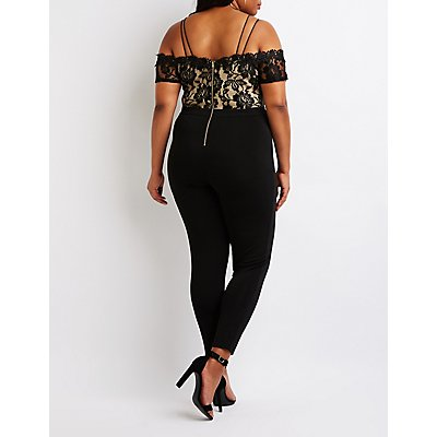 Plus Size Floral Crochet Jumpsuit