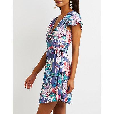 Floral Wrap Skater Dress
