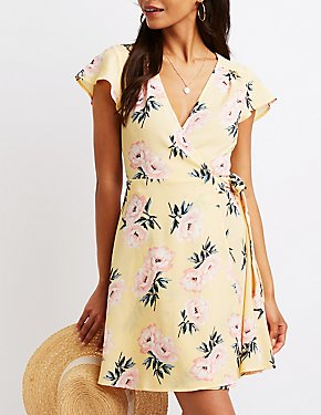 Floral Wrap Tie Sun Dress