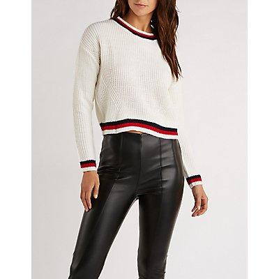 Striped Trim Pullover Sweater
