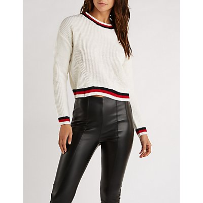 Stripe Detail Pullover Sweater