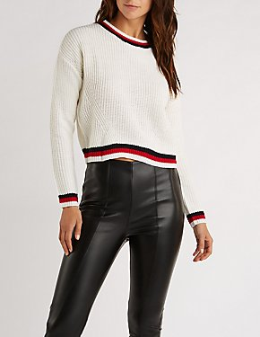 Striped Trim Pullover Sweater