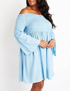 Plus Size Chambray Smocked Dress