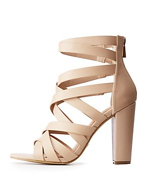 Bamboo Strappy Covered Heel Sandals