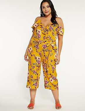 Plus Size Floral Cold Shoulder Jumpsuit
