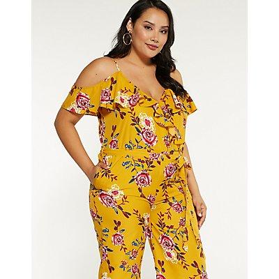 Plus Size Floral Cold Shoulder Jumpsuit