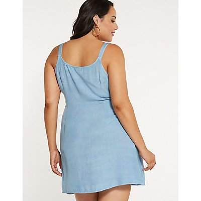 Plus Size Chambray Wrap Dress