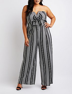 Striped Strapless Notched Jumpsuit