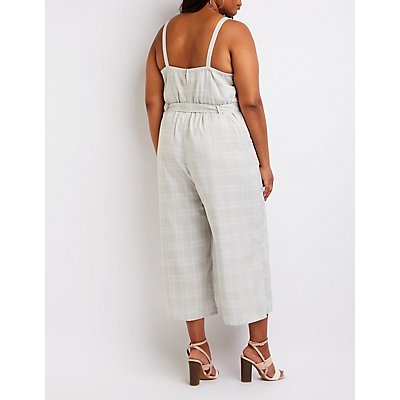 Plus Size Plaid Cut Out Jumpsuit