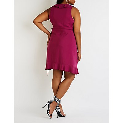 Plus Size Ruffle Wrap Dress