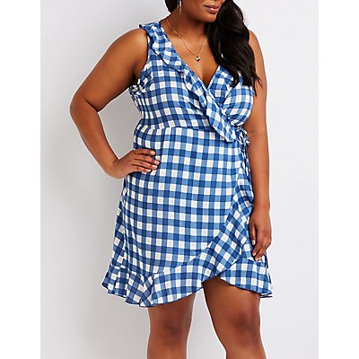 Plus Size Gingham Wrap Dress