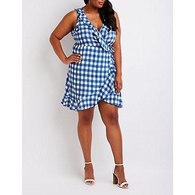 Plus Size Gingham Wrap Dress
