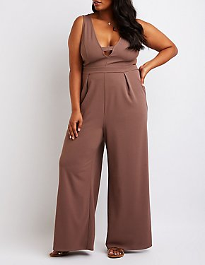 Plus Size Cut Out Wide Leg Jumpsuit