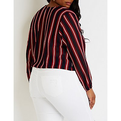 Plus Size Striped Wrap Top