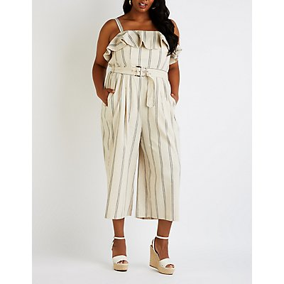 Plus Size Striped Culotte Jumpsuit