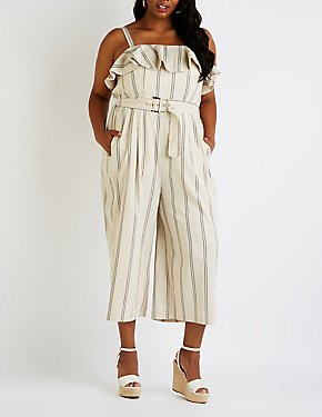 Plus Size Striped Culotte Jumpsuit