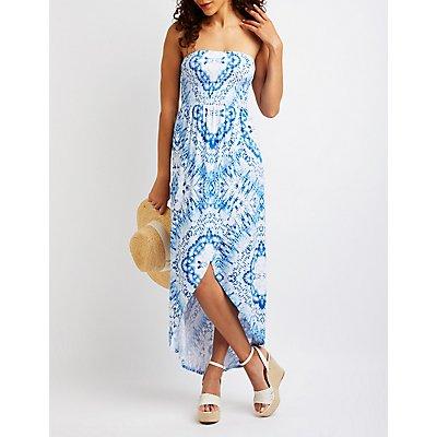 Smocked Wrap Maxi Dress