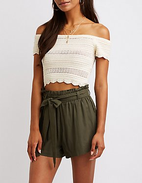 Off The Shoulder Macrame Top
