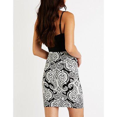 Paisley Bodycon Mini Skirt